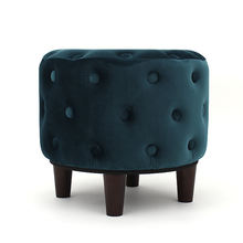 Customized new!!! midnight green velvet round shape foot stool ottoman pouf with wooden legs
