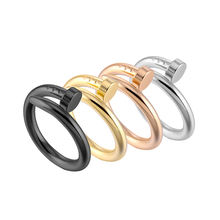 Fashion Trend Unisex Titanium Steel Couple Ring Stainless Steel Geometric Nail Ring