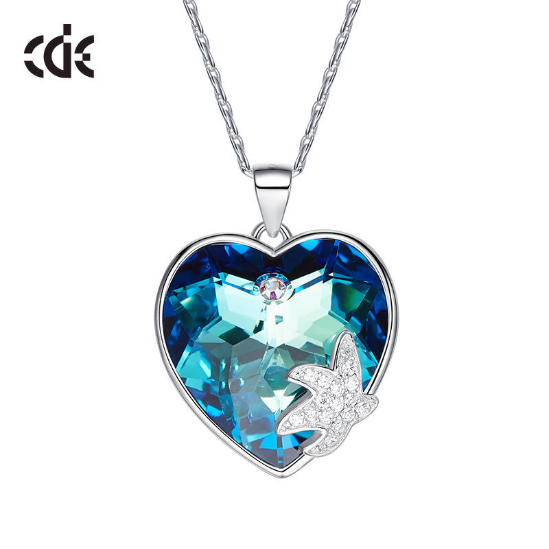Love Couple Rhinestone Heart Necklaces Dainty 925 Jewelry