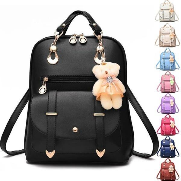 Fashion Backpack PU Leather Women Girls Bear Pendant Backpack Purse Shoulder Hobo Bag Satchel Top-Handle Bags