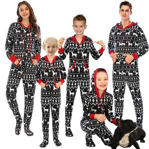 2020 winter factory whole sales Long Sleeve Hooded Onesie family Christmas pajamas