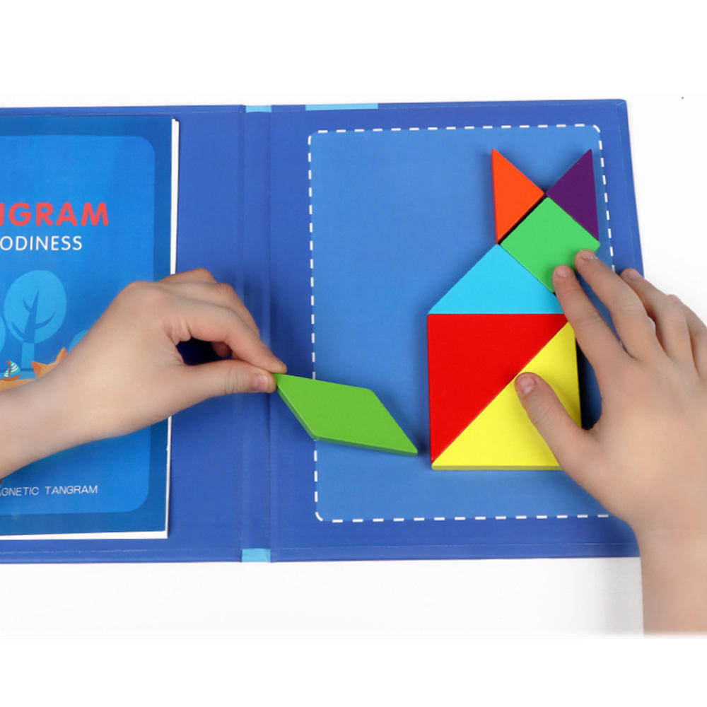 Children education brain training game kids wooden tangram magnetic puzzle toys