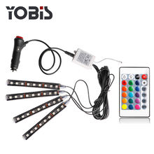 Yobis Car RGB LED Kit Interior Atmosphere Neon Lights Strip for Car underdash 5050 9 Remote lighting