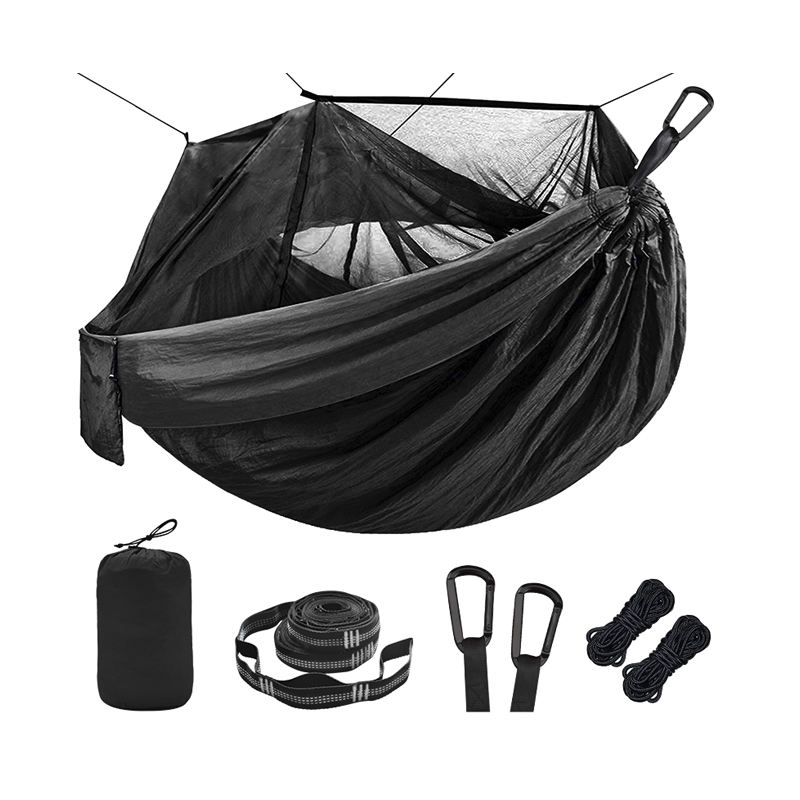 Custom Folding 2 Person Outdoor Heavy Duty Nylon Canvas Camping Hammock with Mosquito Net