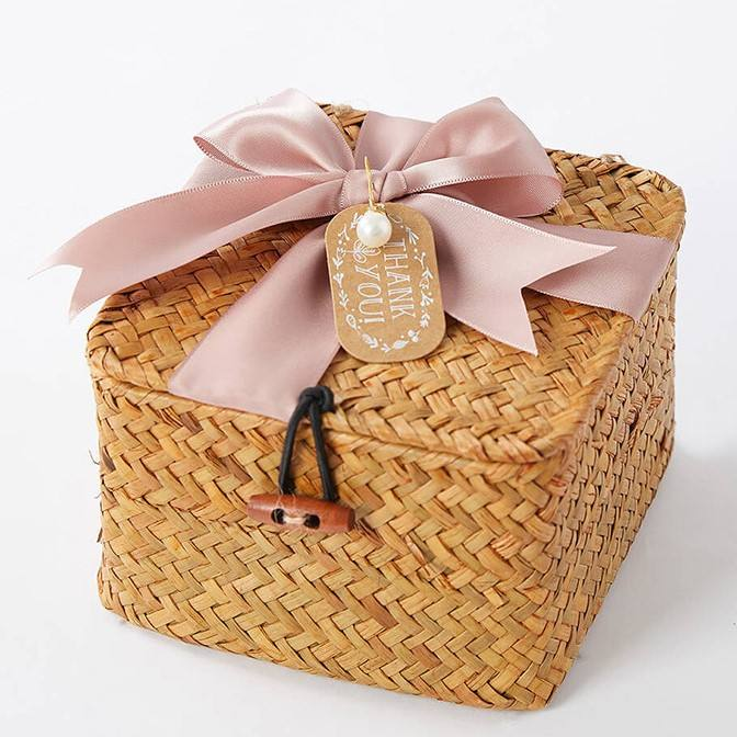 Best Selling Handmade Gift Box Bridesmaid Gift Basket Wedding Full Moon Creative Bamboo Woven Gift Box
