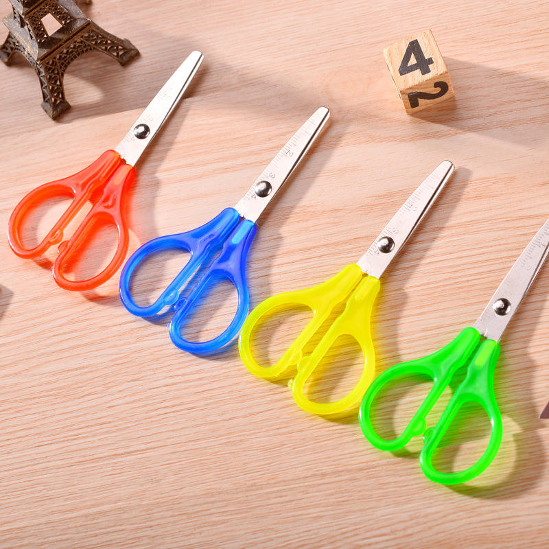 Rainbow Colors Plastic & Metal School Safety Scissors Classroom Scissors