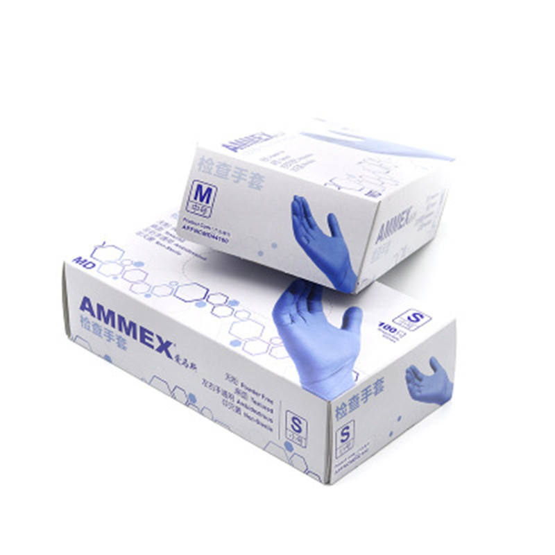 INTCO EN455 blue nitrile gloves in stock powder free finger textured PVC/vinyl PE nitrile latex rubber gloves