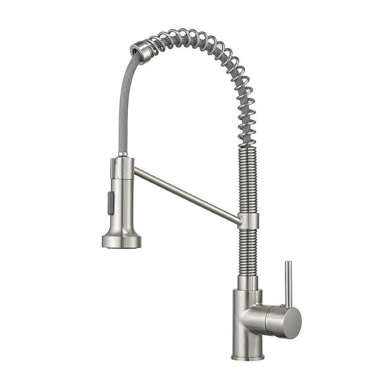 FLG Prefab Houses Faucets Single Lever Pull unten Spring Spout Mixers Kitchen Tap Brass Kitchen Sink Faucets