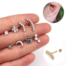 2020 body jewelry supplier stainless steel tragus ear piercing studs cz helix conch piercing jewelry wholesale