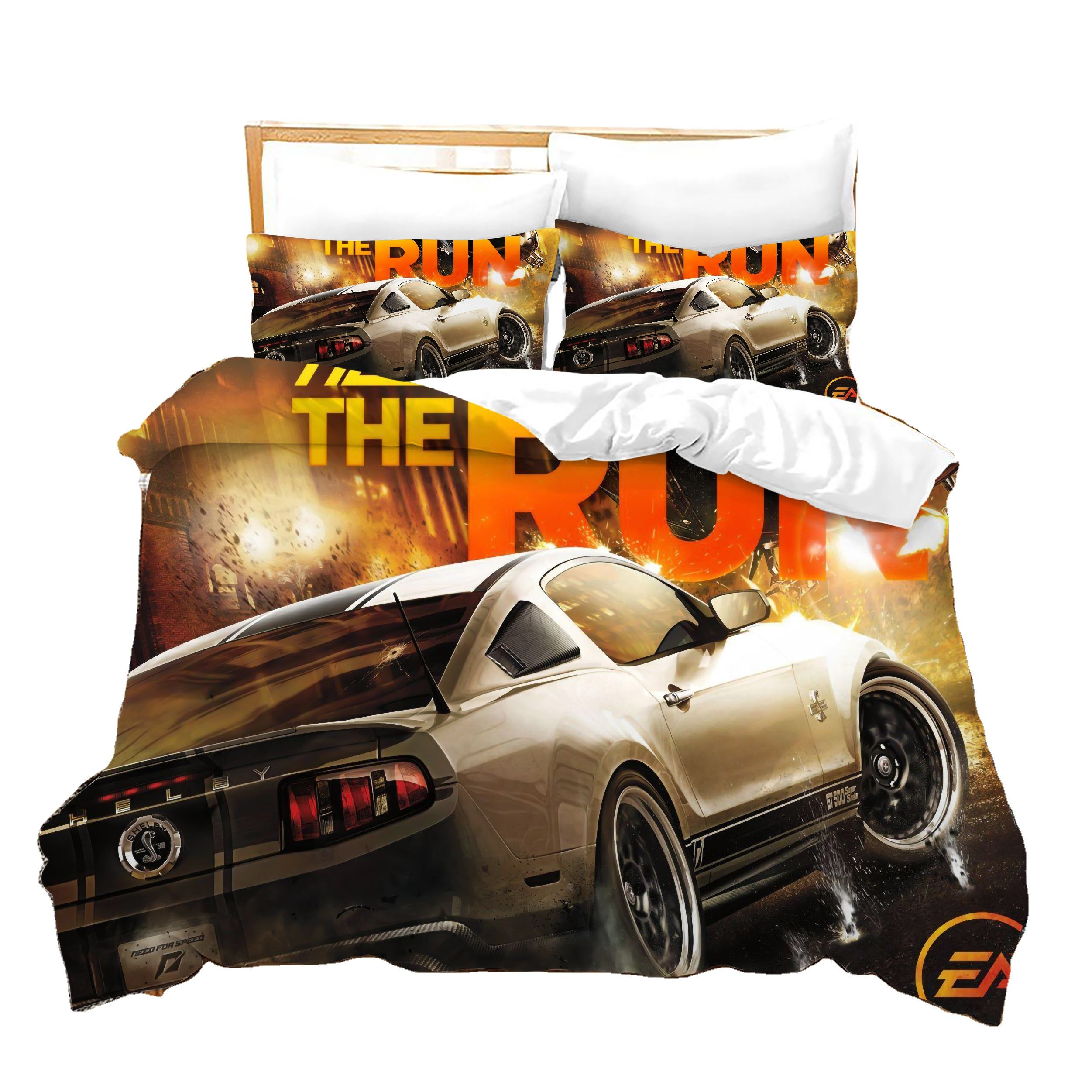 Wholesale Need For Speed 3D Printed Duvet Quilt Bedding Cover Comfortable Plain Bedsheet Set