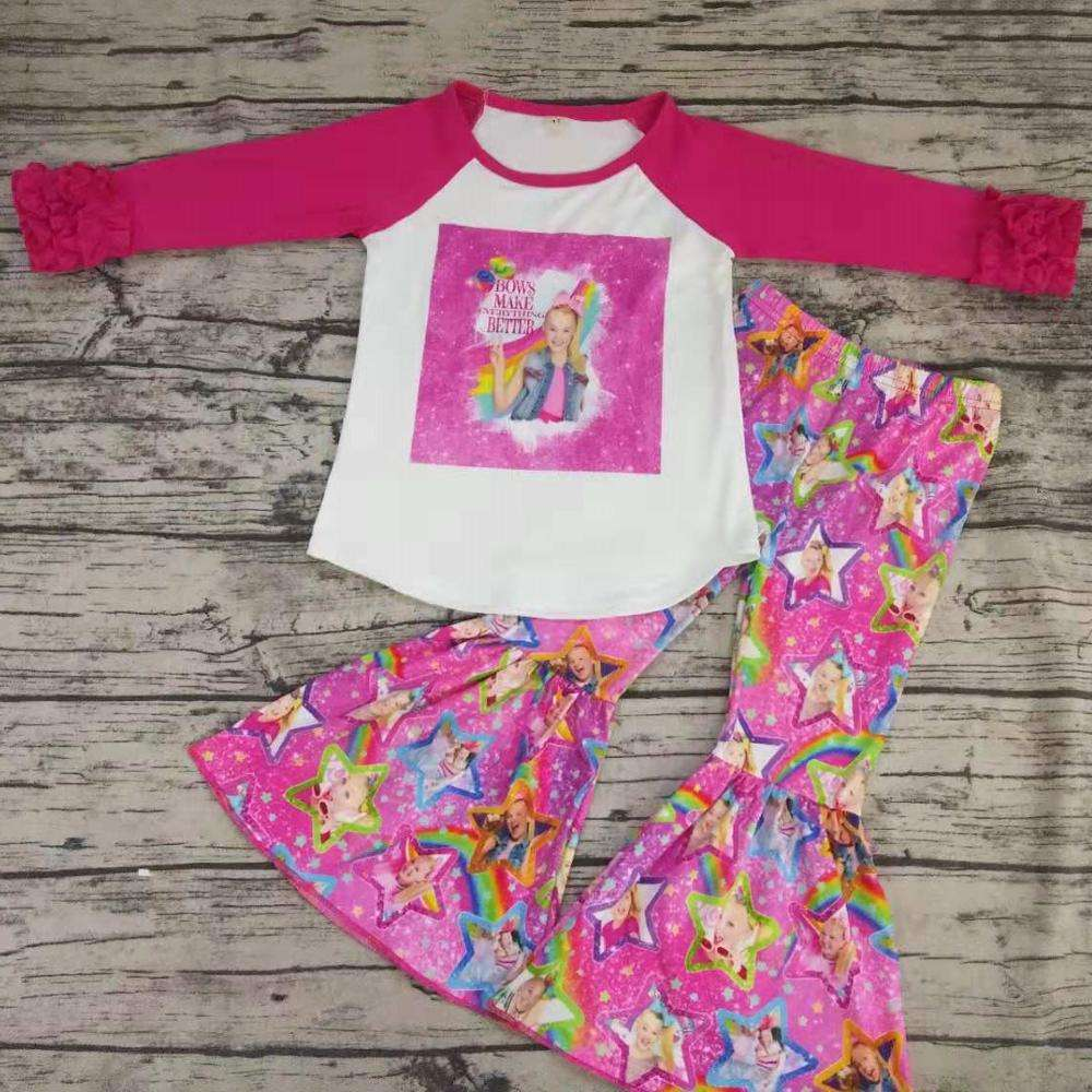 newest wholesale baby girl boutique clothing fall clothes western girl fall winter outfit top ruffle pant set kids clothing set