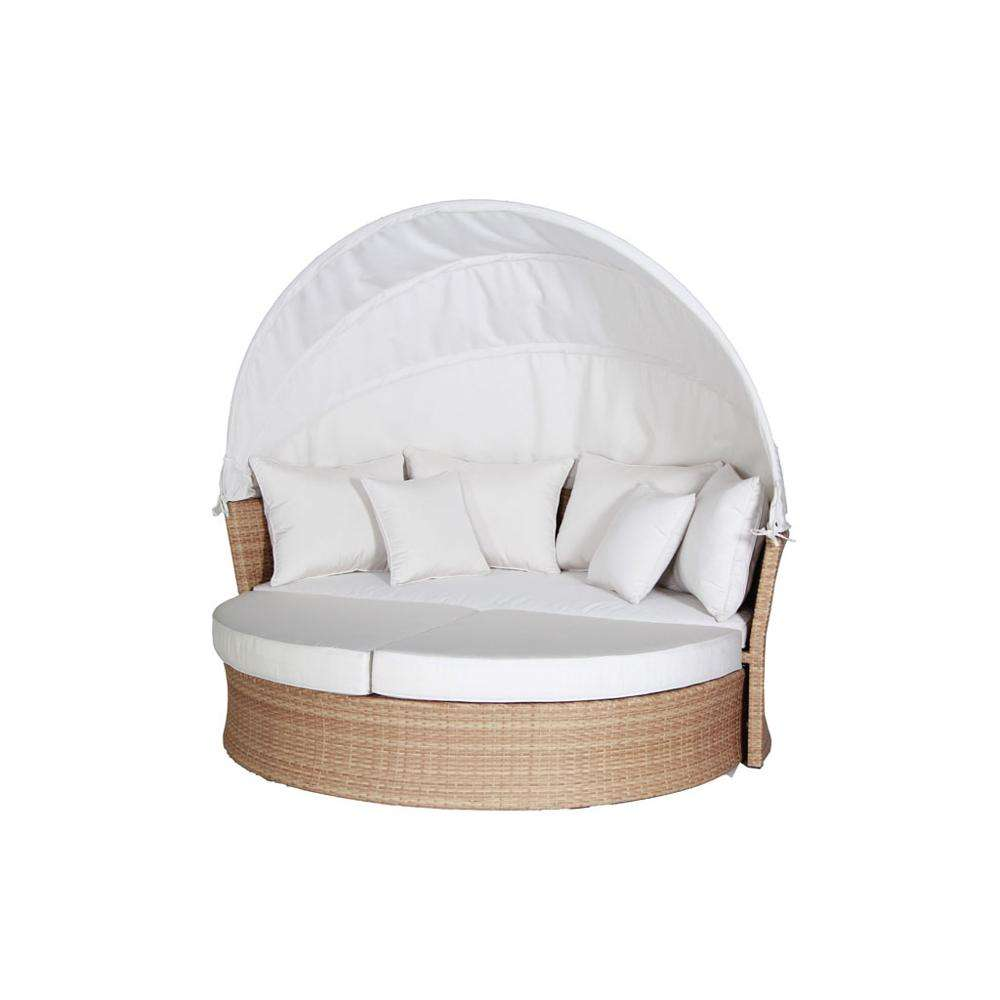 Outdoor hot sale good quality Classic Style round rattan daybed wicker patio furniture daybed with soft cushion