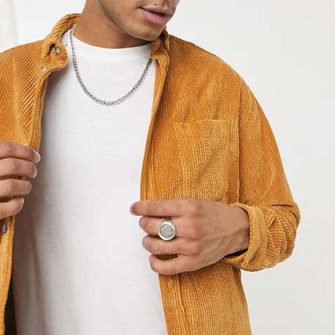 Wholesale Logo Custom Corduroy Solid 90s Oversized Style Cord Casual Shirt Men