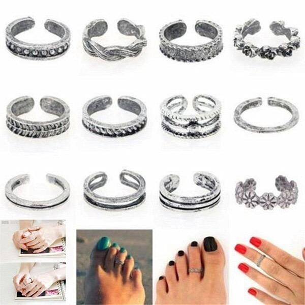 2020 Whole 24PCS Alloy Toe Ring Foot Jewelry Set of 24pcs Adjustable Toe Ring