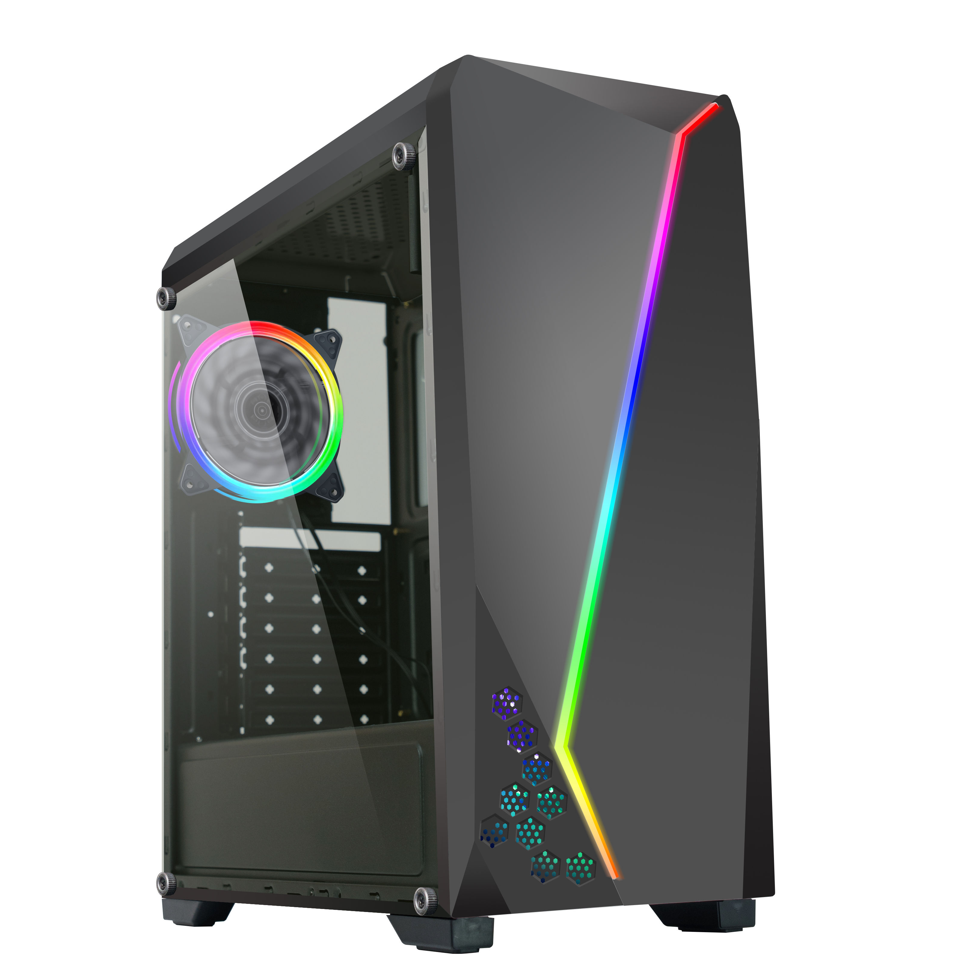 Factory direct sale New Design RGB Strip ATX Desktop Tower Acrylic PC Case Diy Computer Case Chassis