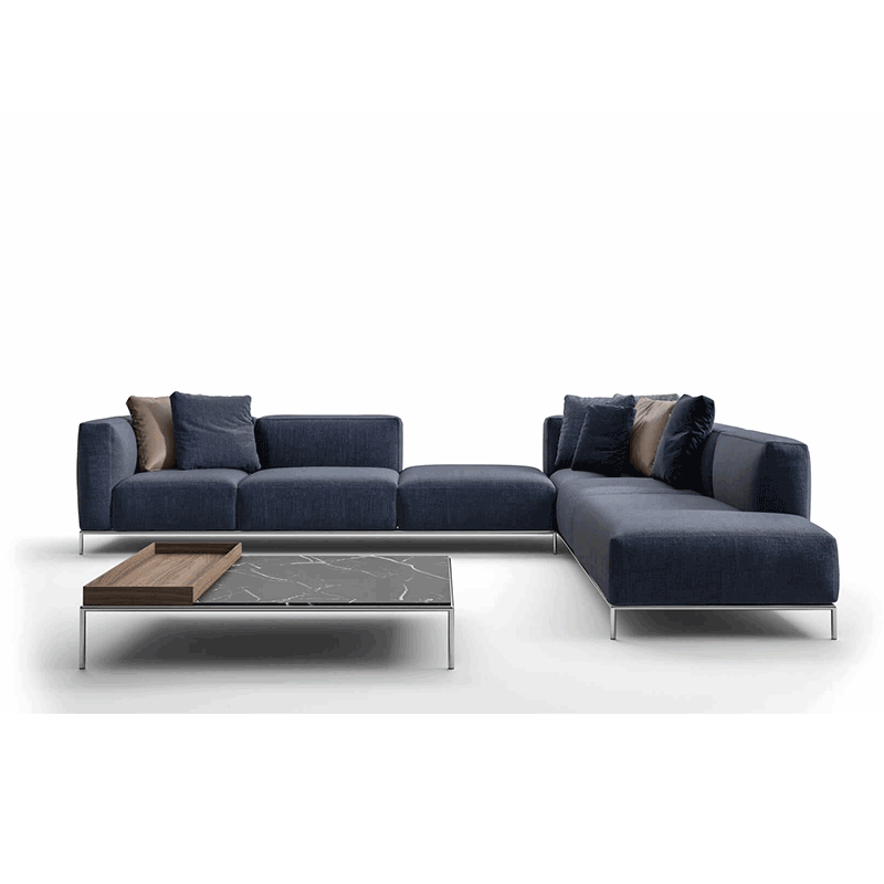 YASITE Modern Fabric Upholstery Velvet Suede Sectionals Floor Blue Modular Sofa Set Design