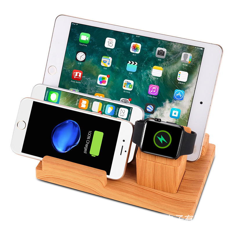 Bamboe Hout Laadstation USB 4 Poorten Charging Stand Station Dock Voor IPhone IPad IPod Apple Horloge