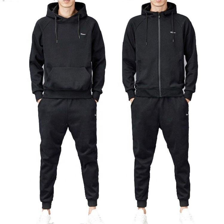 Men Tracksuits Custom Logo Zipper up Pullover Hoodies 2 PC Set Men Fleece Jogging Sets Gym Sports Wear Training Suits