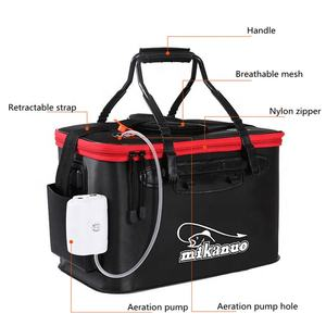 35L Wear Resistant Portable Large Capacity Eva Water Container Multifunctional Fishing Folding Bucket With Aeration Pump