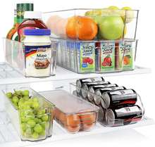 Wholesale Quality Stackable Transparent Plastic Box Fridge Refrigerator Organizer Bins Set