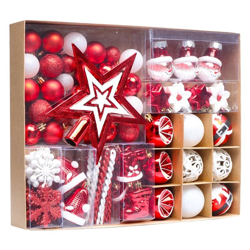 89 Pcs/Pack Christmas Tree Ornaments Set 30-80mm Red White Shatterproof Christmas Ball Ornaments for Christmas Decorations