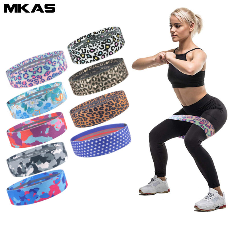 Custom printing fabric Leopard Print Exercise Fitness Hip Loop Booty Resistance Bands Set