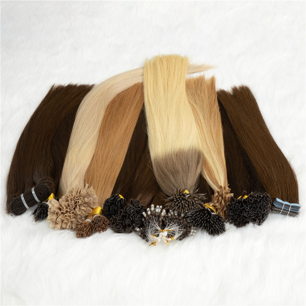 Wholesale Russian Pre Bonded Human Hair Raw Double Drawn Remy Fan/V/ U Tip Flat Tip i Tip Hair Extensions