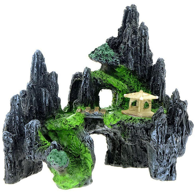 Mountain View <span class=keywords><strong>Aquarium</strong></span> Hars Decoratieve Stenen Tree House Cave Bridge <span class=keywords><strong>Aquarium</strong></span> <span class=keywords><strong>Aquarium</strong></span> <span class=keywords><strong>Ornament</strong></span>