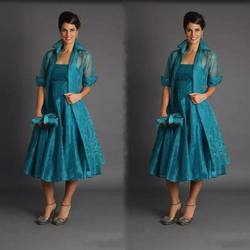 Formal Lace Appliqued Teal Organza Tea Length Mother of The Groom Dresses Guest of The Bride Clothing