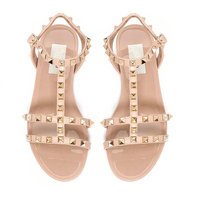 Luxury Sandals Women Flat Shoes Ladies Casual Rivet Flat Sandal Pvc Plastic Sandal Fancy Women Jelly Shoes