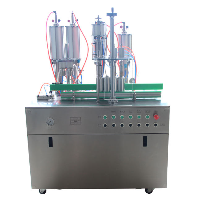 Semi automatic CJXH-1600AT 4 in 1 Aerosol filling machine For Insecticides air freshener body spray