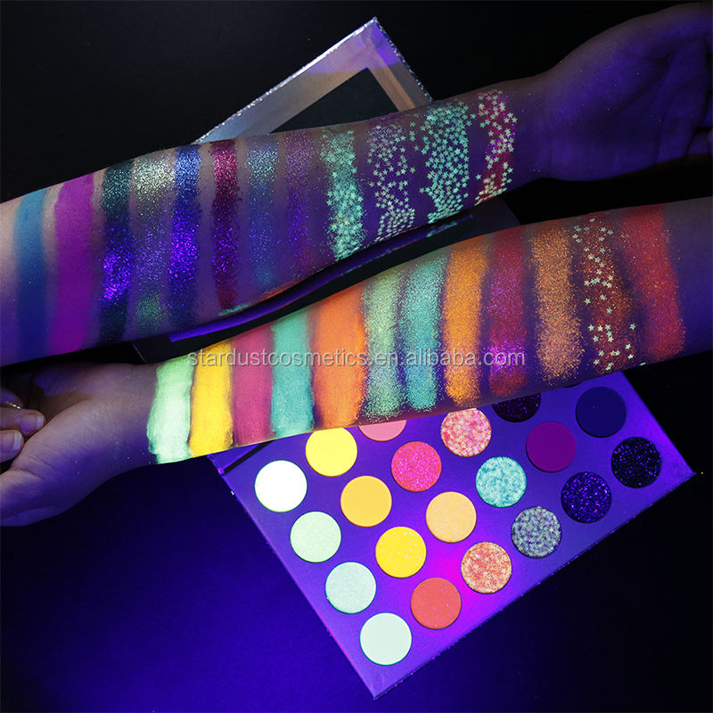 make your own brand 24 color holographic paper box private label eye shadow glitter custom eyeshadow palette