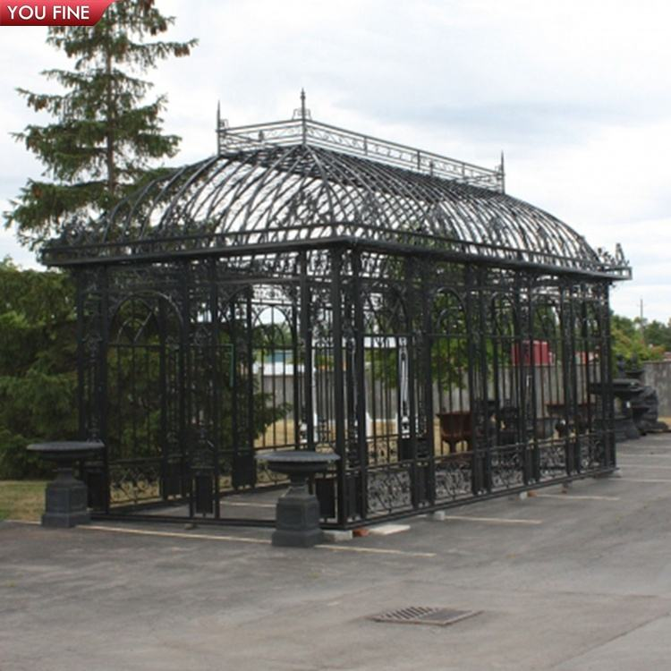 Outdoor gazebo outdoor garden wrought iron gazebo orangarie greenhouse gazebo for Sale