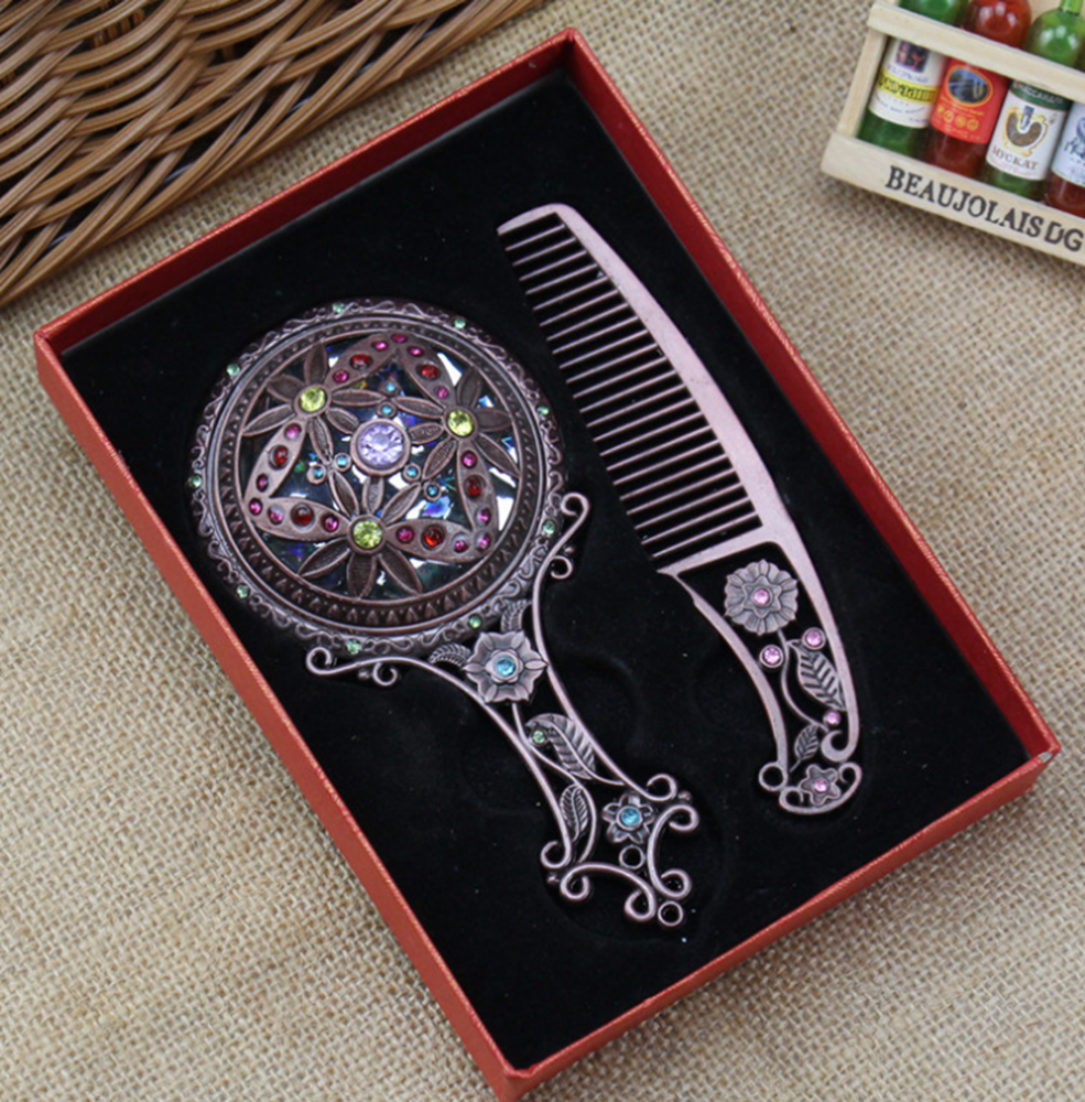 Cheap Price Vintage Mirror Set Hand Mirror for Makeup Comb Brush Gift Set