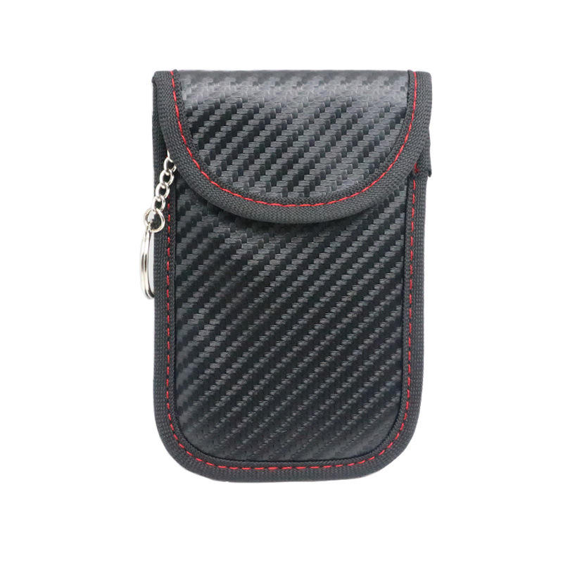 QRF-09 Carbon Fiber Leather RFID Car Key Signals Blocker Case with key hook keyless car theft Pouch