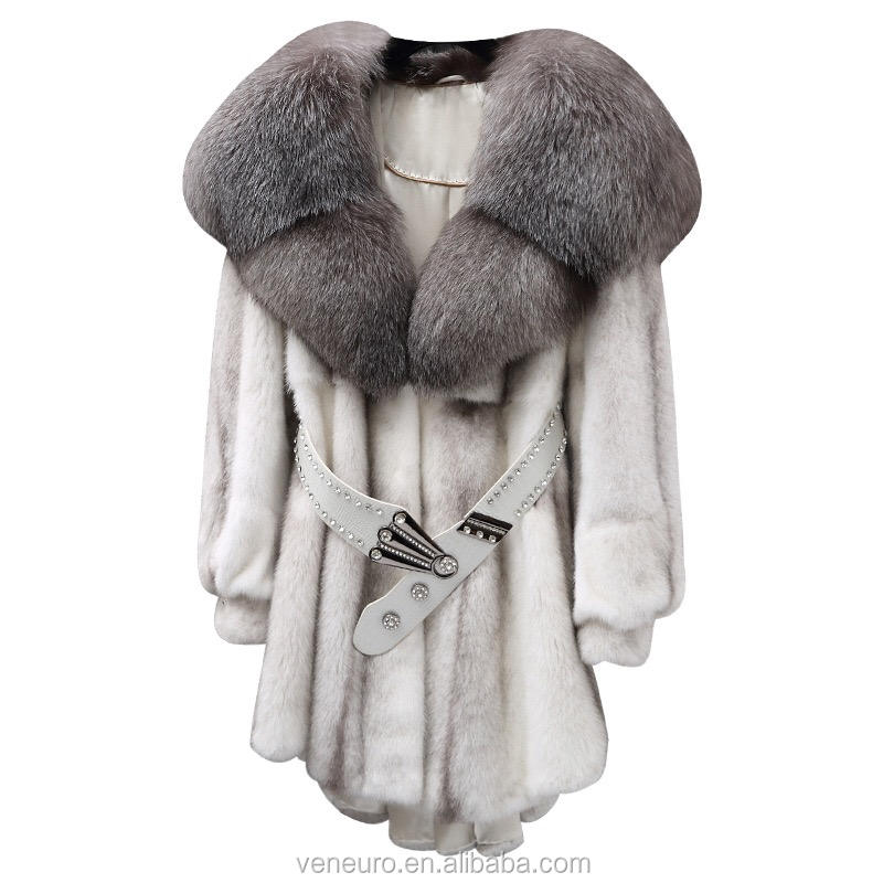 Wholesale Natural Color Luxury Style Big Fur Collar Jacket Women Winter Mink Fur Coat