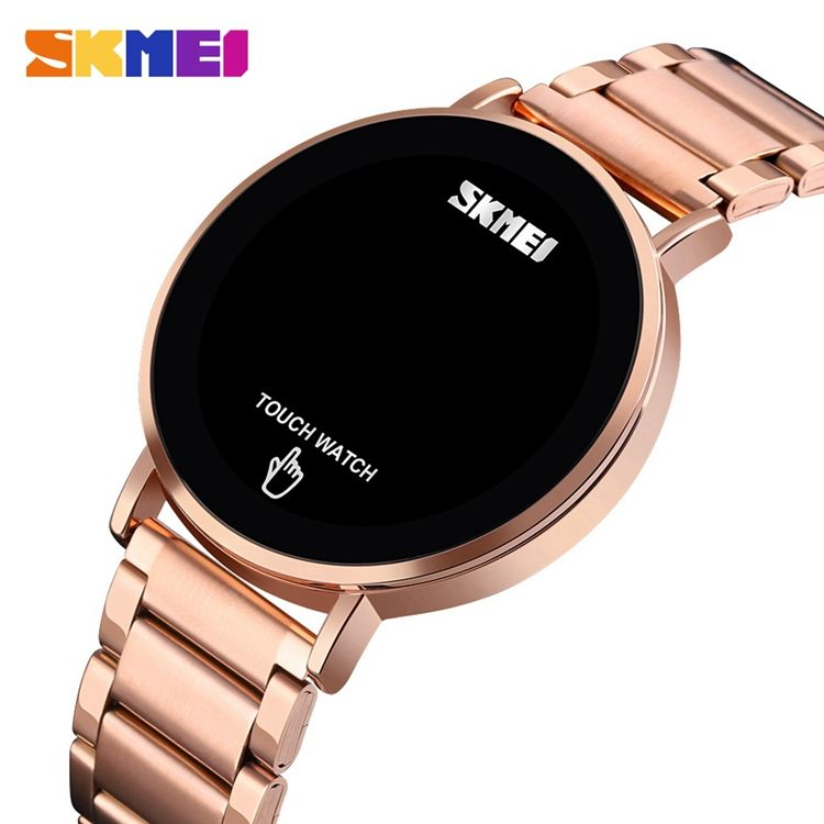 SKMEI 1550 Men Stainless Steel Watches Charm 3 atm Waterproof Man Silver Led Digital Watch