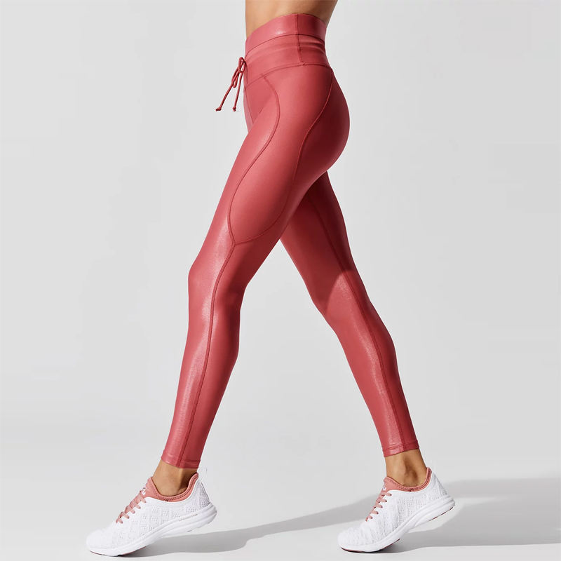 Wholesale High Quality Sports Fitness Clothing Custom Shiny Gym Pants Women Activewear High Waist Workout Leggings Yoga