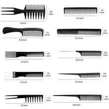 10 Packs Toothed Tail Teasing Waves Pick Styling Hairbrush Salon Professional Custom Bone Plastic Beard Hair Brush Combs Set