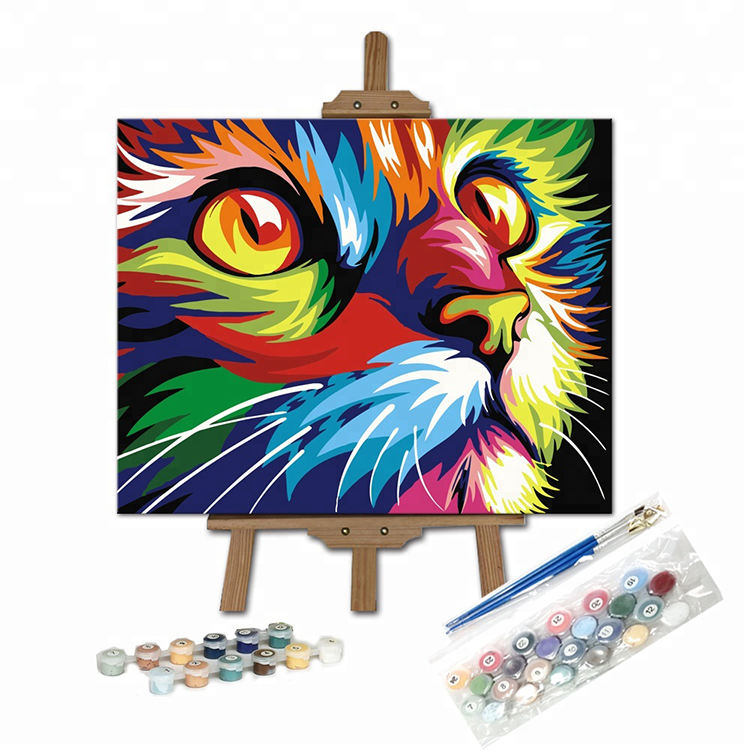 Color Cat DIY Oil Painting Newsight Paintworks Paint By Number for Adults