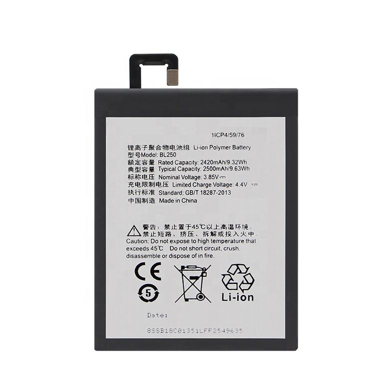 Rechargeable Li-Polymer Cell mobile phone Battery BL250 2500mAh For lenovo S1