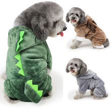 Warm Winter Cartoon Animal Cow Lion Dinosaur Coral Velvet Hoodie Christmas Pet Dog Clothes Funny Pet Dog Costume