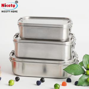 New Design American Kitchen Airtight Stainless Steel Food Storage Container Lunch Box 800ml Silicone Seal Ring Square Lunch Box