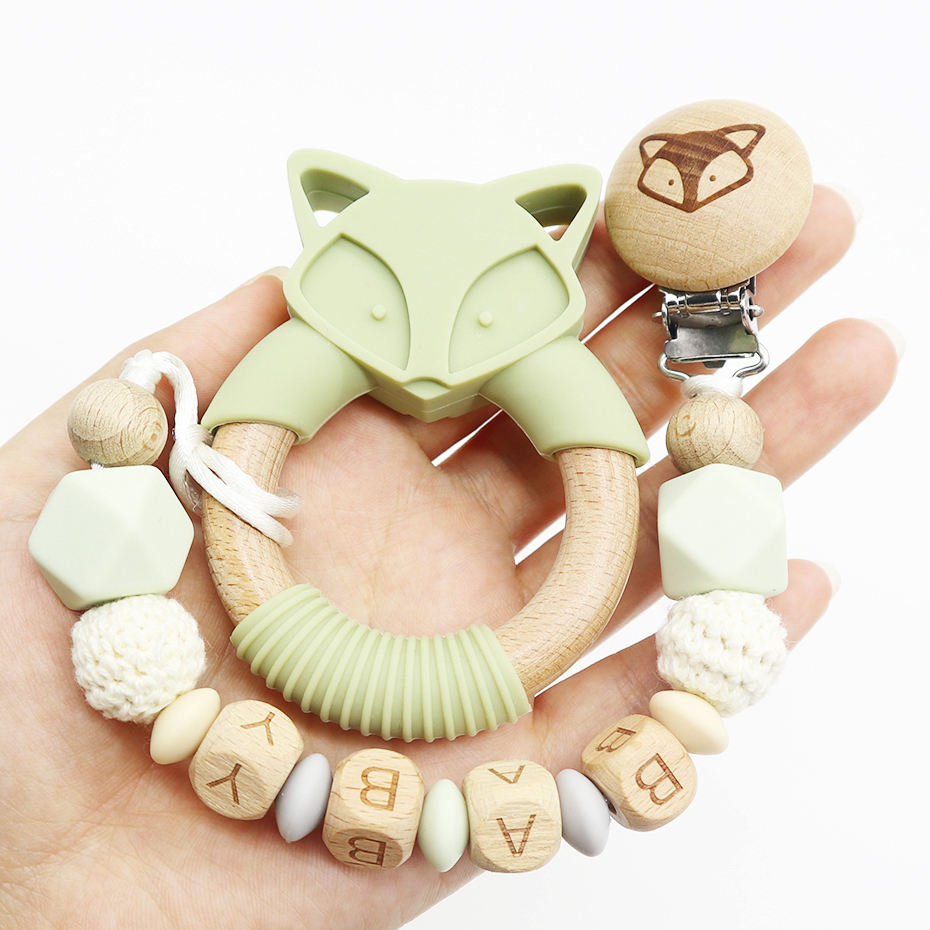 Organic New Design Animal Fox Wooden Ring Wood Teether For Baby