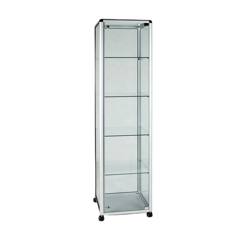 Cheap price aluminum frame Glass Display Cabinet Tower with 4 Shelves/sliding lockable doors/lockable castors for retail shop