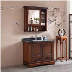 American style oak bathroom cabinet floor solid wood washbasin cabinet combination new Chinese t