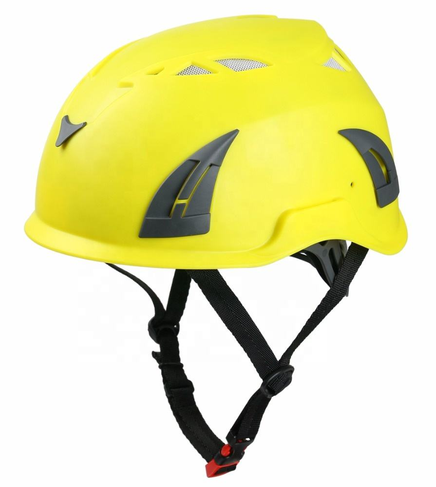 Working at height yellow climbing safety helmet hard hat with safety goggle