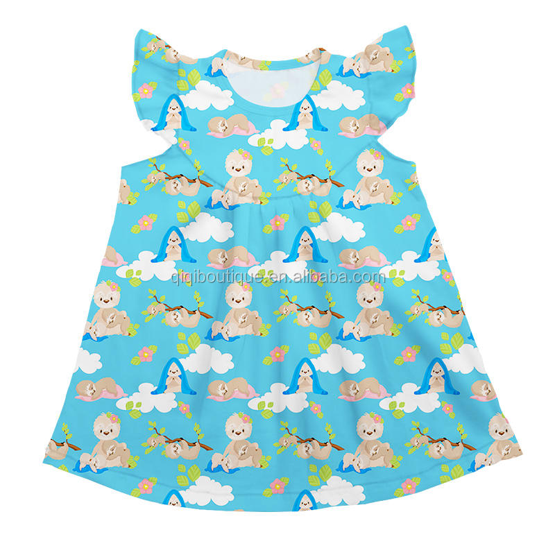 Wholesale Summer Halloween Printed Cute Baby Dress Twirl Boutique Girl Dress