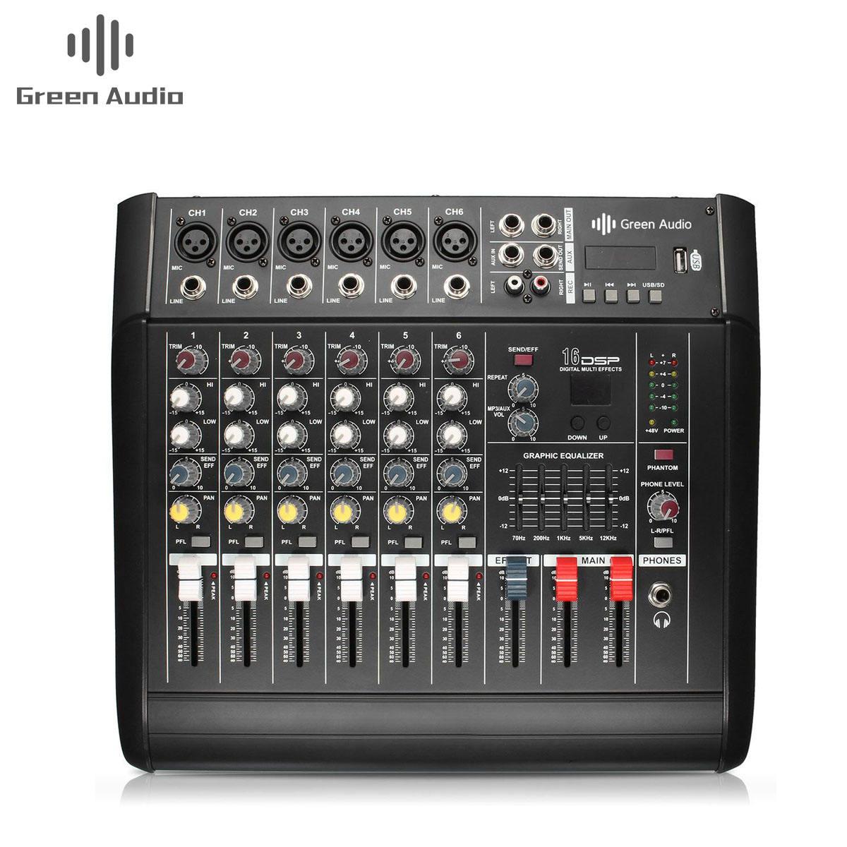 GAX-602D 48V Phantom Power Mixer Usb 6 Canali Amplificatore Dj Karaoke Mixer Audio Supporto Usb Scheda di Memoria per Le Prestazioni famiglia