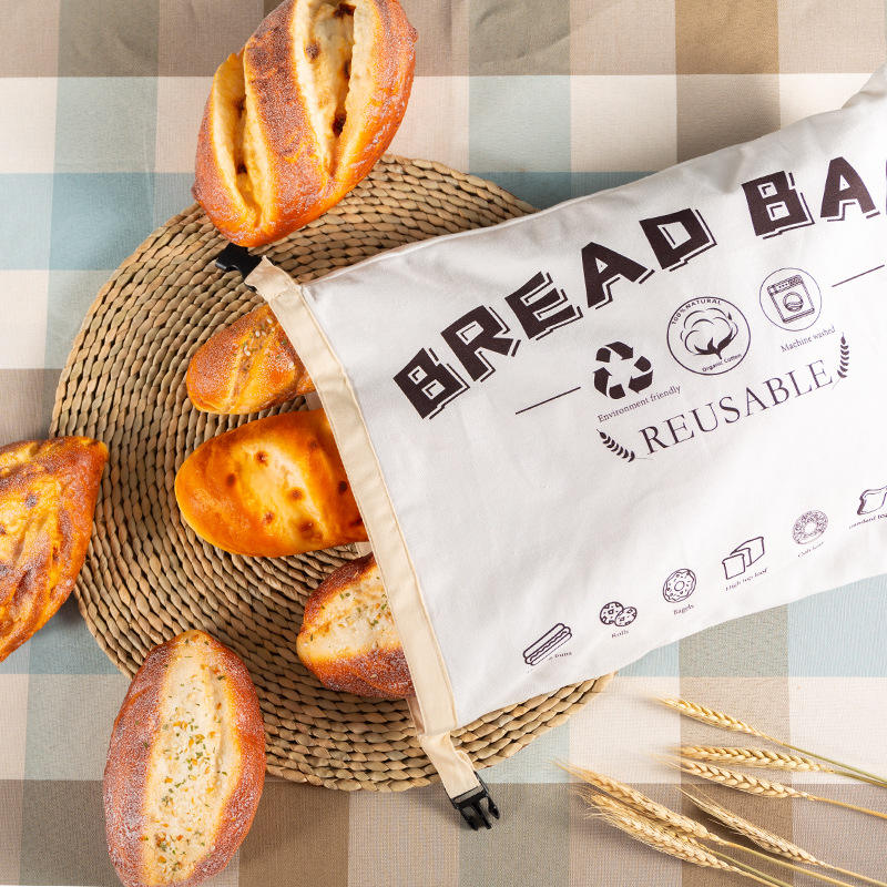 Reusable Organic Cotton Bread Bags Food Grade Recycled Storage Pouch For Foods Bread Bags